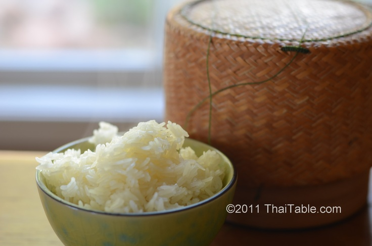 Sticky Rice - made it with microwave, steamer and traditional bamboo basket  http://www.thaitable.com/thai/recipe/sticky-rice