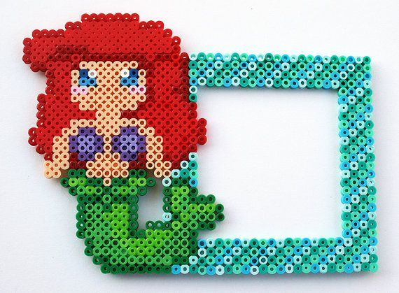 the little mermaid perler beads pattern   Perler Bead Disney's Ariel The Little Mermaid photo frame by ...