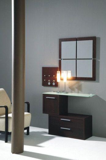 Meuble d'entrée contemporain avec miroir TURNER, coloris wengé