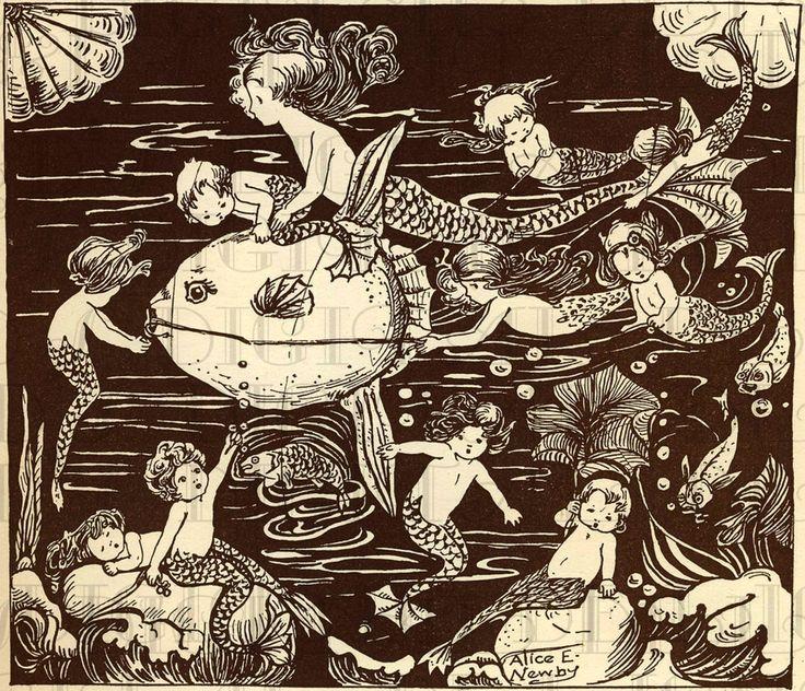 MERMAIDS and Mermen. Fairy Tale Vintage by DandDDigitalDelights