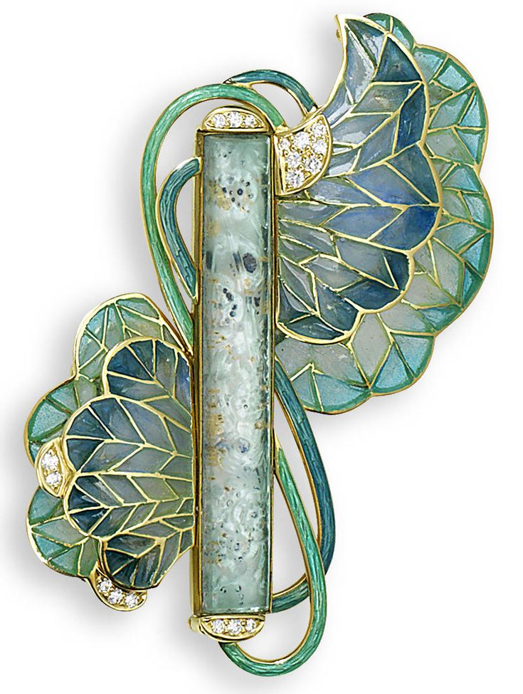 A plique-à-jour enamel and glass brooch, designed by Ivor Gordon. The central rectangular foiled eau-de-nil glass plaque, circa 1910, by Lalique, encased in a contemporary mount with diamond terminals, issuing pale blue/green plique-à-jour enamel blooms to either side, with brilliant-cut diamond highlights and entwined guilloche enamel stems, the central rectangular plaque signed Lalique, length 7.3cm.: