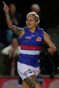 Moana Hope celebrates one of her six goals for the Western Bulldogs in the AFL…