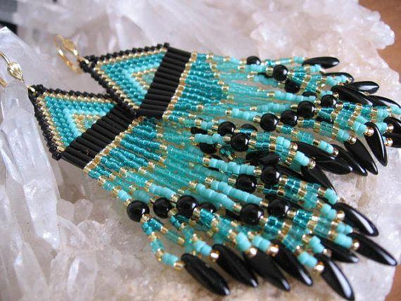 Seed Bead Beadwoven Earrings  Teal/Aqua by pattimacs on Etsy, $25.00
