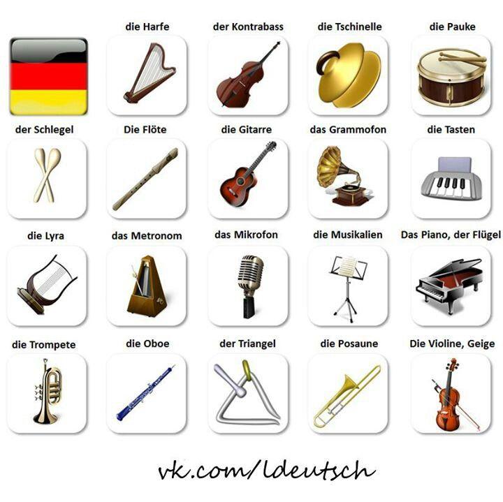 German language Musikinstrumente