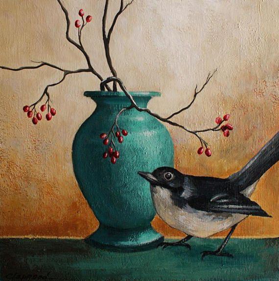 Peinture oiseau tableau vase bleu image oiseau noir et
