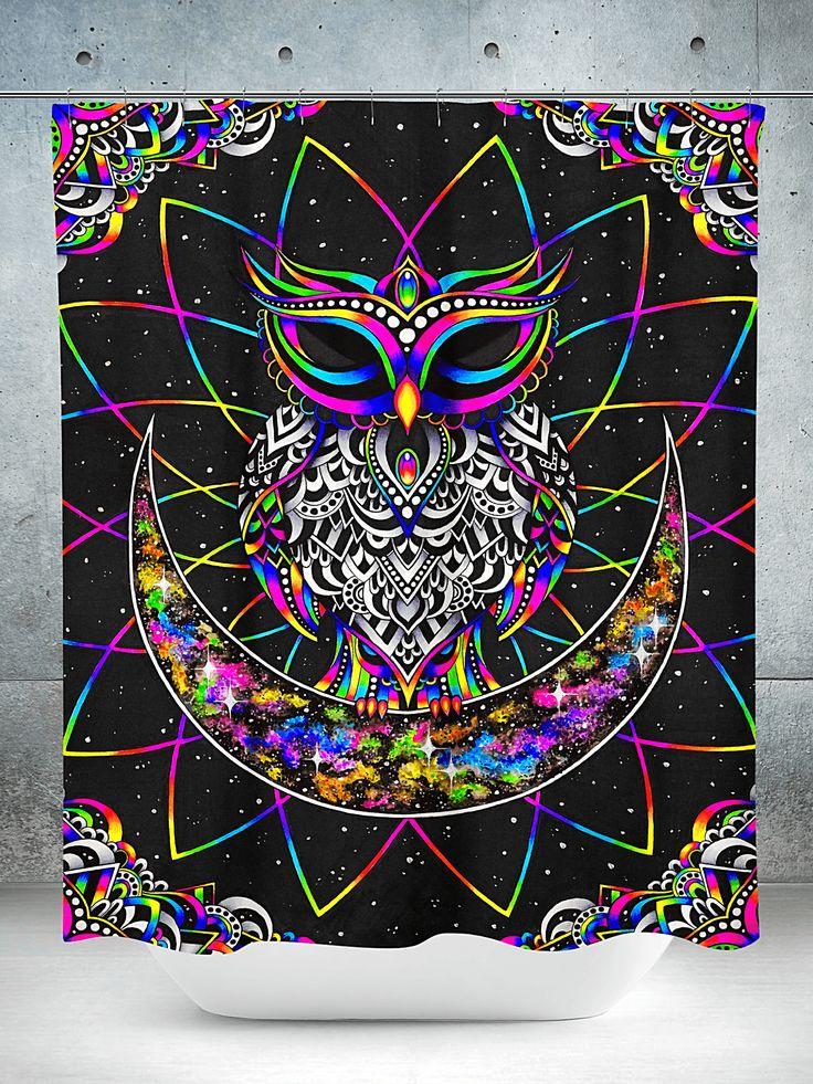 Electro Owl Shower Curtain Tapestry Owl Blanket Owl Shower