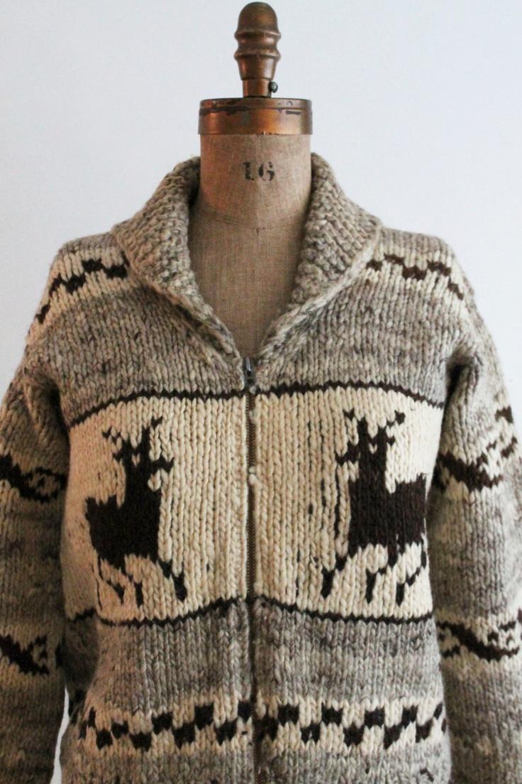 cowichan sweater - wool cowichan sweater with deer motif. $110.00, via Etsy.