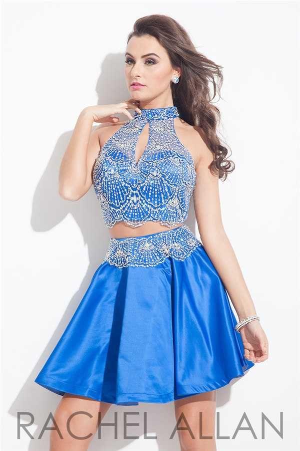 Dazzling Beaded Royal Blue Two Piece Dresses by Rachel Allan 4054 2017