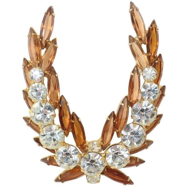 Preowned Regal 1950's Laurel Leaf Rhinestone Brooch (£145) ❤ liked on Polyvore featuring jewelry, brooches, brown, sparkle jewelry, pin brooch, sparkling jewellery, pre owned jewelry and military jewelry