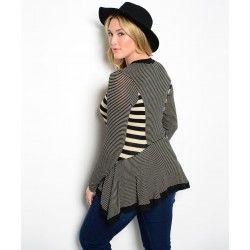 Multi Striped Black Beige Cardigan Plus size XL 2XL 3XL