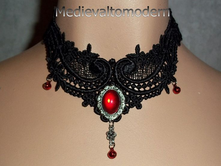 Black Red Bells Gothic Venise Lace Choker by Medievaltomodern.