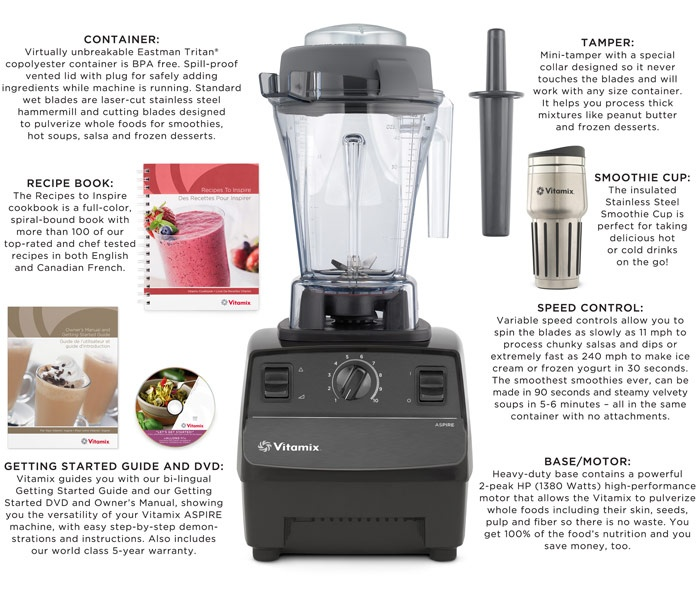 "Buy Vitamix Aspire with Stainless Steel Smoothie Cup, Vitamix and Blenders from The Shopping Channel, Canada's home shopping network - Online Shopping for Canadians ... minus the stupid ""smoothieCup"" ..."