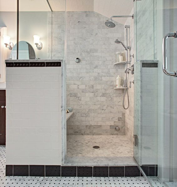 Thoughts For The Glass Surround Shower: Classic Carrara Marble Steam Shower  (Bathroom Design By Tracey Stephens Interior Design)