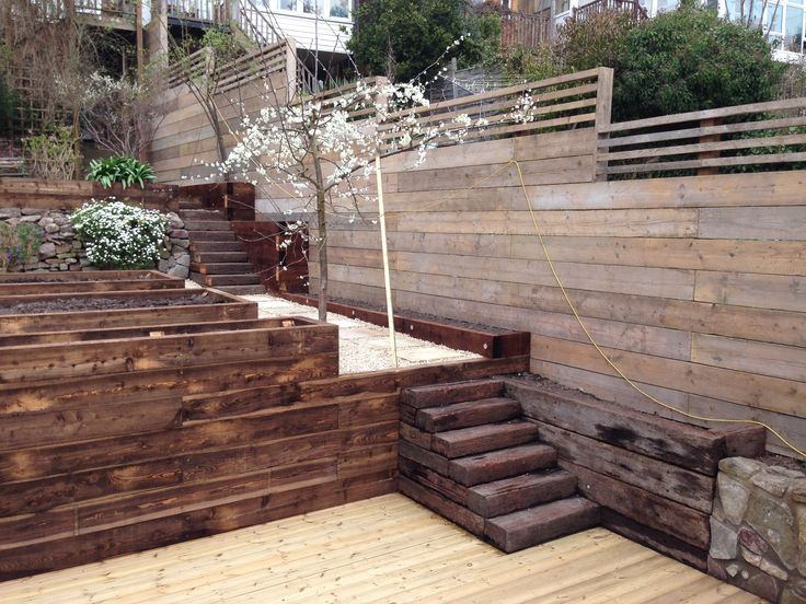 Reclaimed Scaffold Board Fence An Awkward Heavily Sloped
