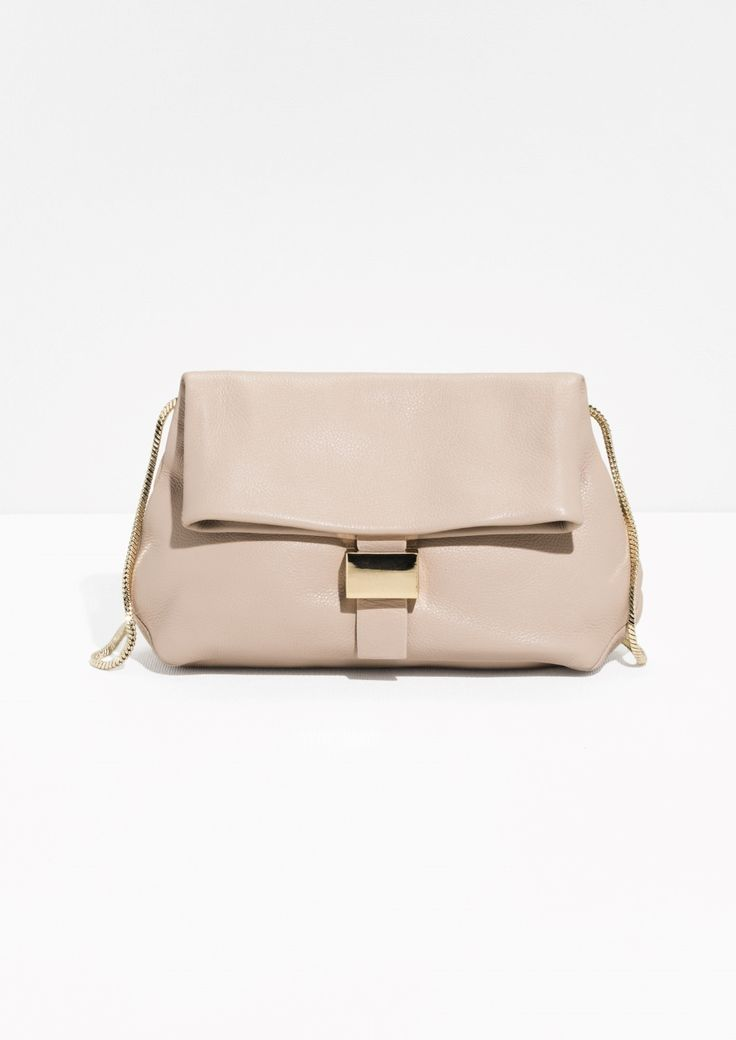 & Other Stories image 1 of Small Leather Fold-Over Bag in Beige