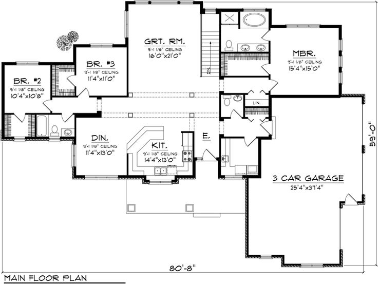 First Floor Plan of Ranch House Plan 96103. 2000 sq ft