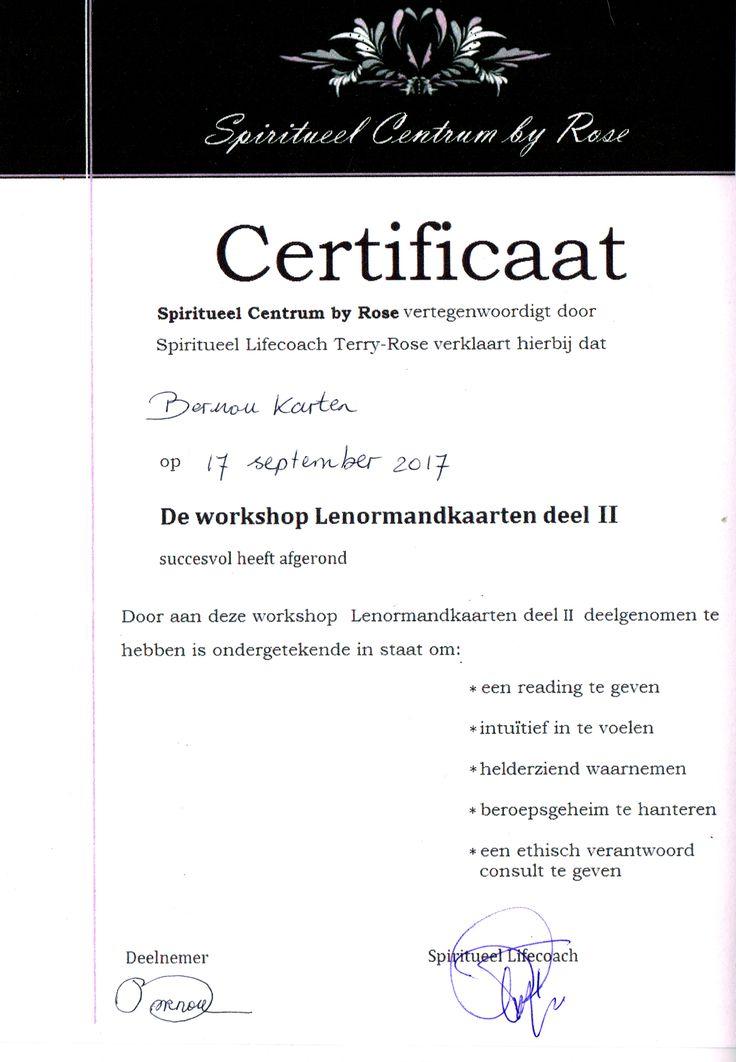certificaat Lenormand kaarten deel 2