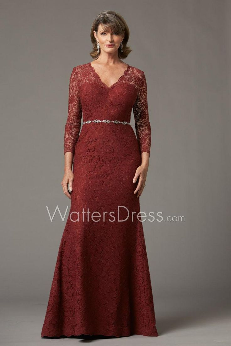 Burgundy Illusion V Neck Lace Floor Length Mother Of The