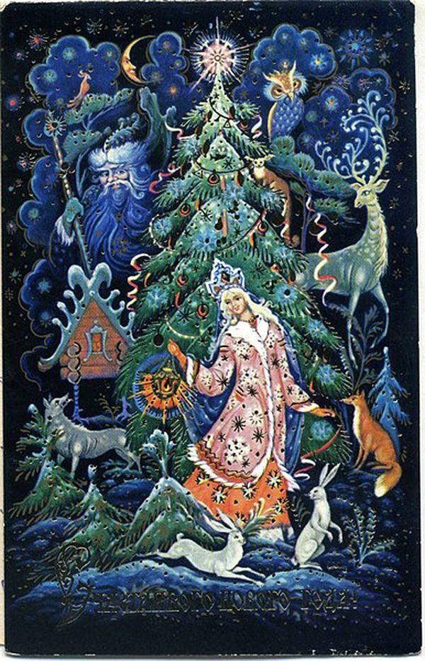 Новогодние открытки в стиле палеха
