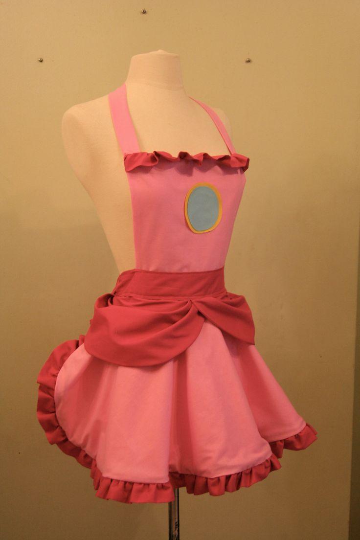 White apron brea ca - Princess Peach Apron On Etsy