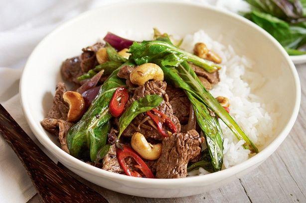 Beef, cashew and Thai basil stir-fry main image