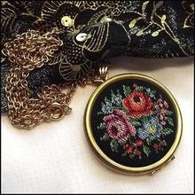 Avon Necklace Big Needlepoint Roses Locket Vintage Jewelry