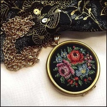 Avon Necklace Big Needlepoint Roses Locket Vintage Jewelry