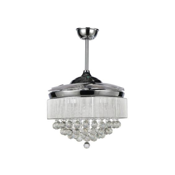 New Modern Chrome Crystal LED Ceiling Fan with Foldable Blades