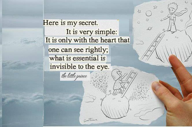 """""""Ve işte sırrım: Bu çok basit. İnsan gerçekleri sadece kalbiyle görebilir. En temel şeyi gözler göremez."""" Küçük Prens  #kalpilegörmek #melikepekmezci #ilhamverennotlar"""