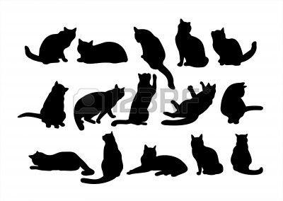 silhuetas fifteen gato preto em um fundo branco silhouette pinterest gatinhos pretos. Black Bedroom Furniture Sets. Home Design Ideas