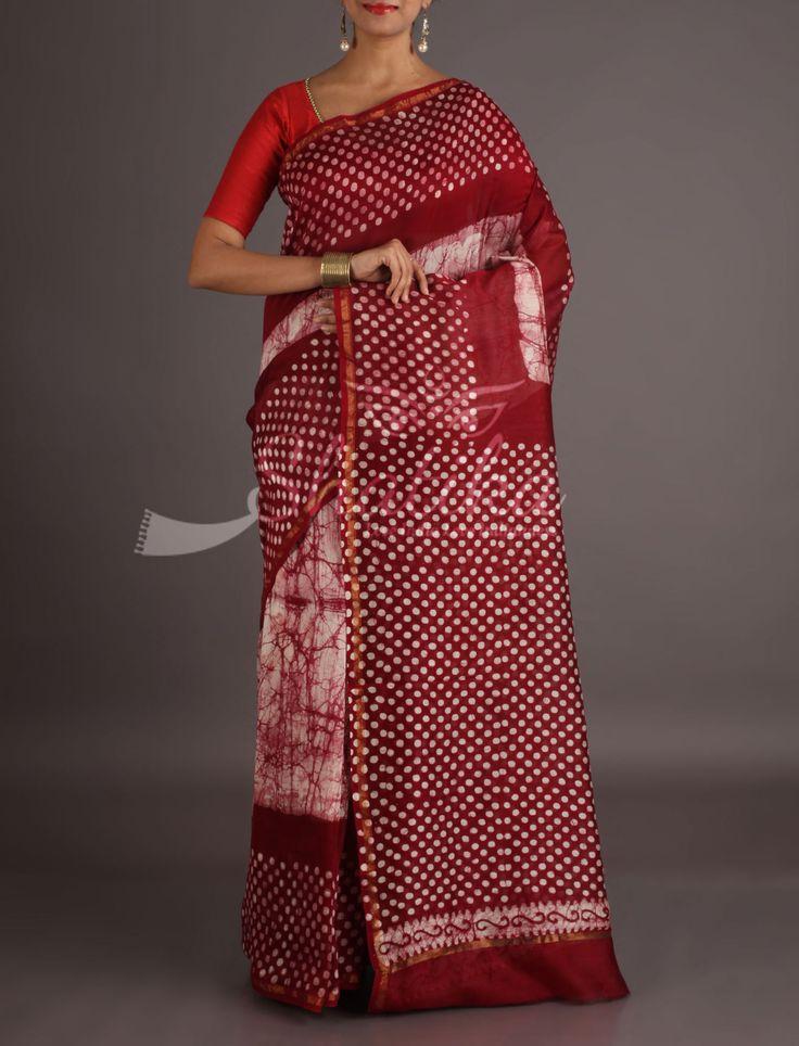 Sheetal Shibori Patterned With Polka Dotted Border Pallu Bagh Print Saree