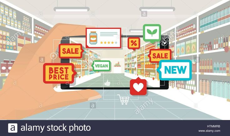 Download this stock vector: Man doing grocery shopping at the supermarket, he is viewing offers and augmented reality contents on his smartphone, store aisle and shelves on the b - HTMMRB from Alamy's library of millions of high resolution stock photos, illustrations and vectors.