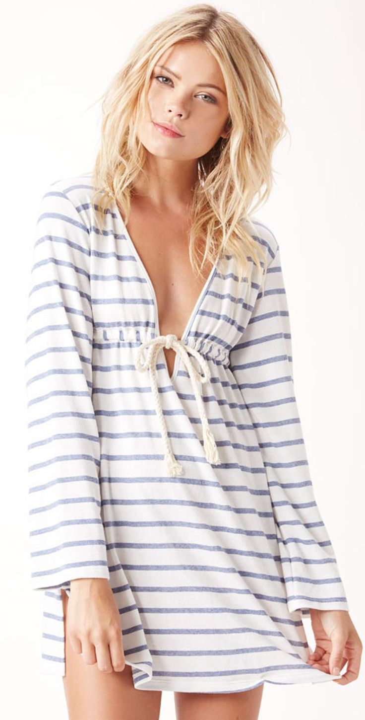 Blue Life 2015 Inidgo Stripe #Hooded Rope #Cover Up 240-3248