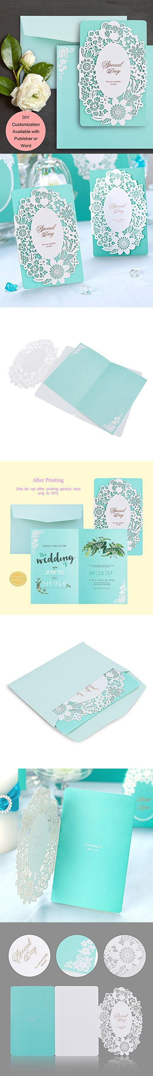 Weddingbob 20Pcs Laser Cut Wedding Invitations Cards