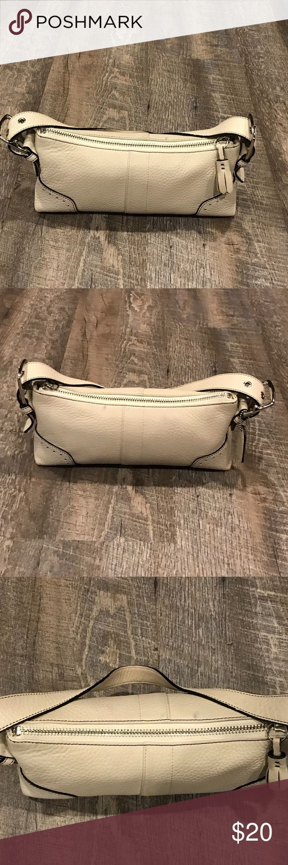 Coach off-white handbag Coach almost new, one minor mark on top of bag.  Zip top, with stitching details on corners of bag with buckle on each side.  Holds cell and other small accessories.  Great for day trip! Clean interior. Great for summer! Coach Bags Mini Bags