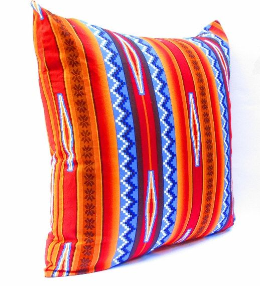 Southwestern Decor, Aztec Pillow Covers, Tribal Cushion covers, Orange Pillow Covers, Bohemian Decor, Large Pillow Cover Red 20 Inch. $30.00, via Etsy.