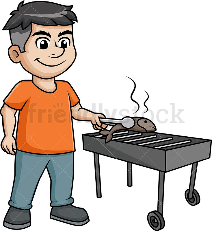 Man Grilling Fish On The Bbq Grilled Fish Cartoon Cartoons Vector