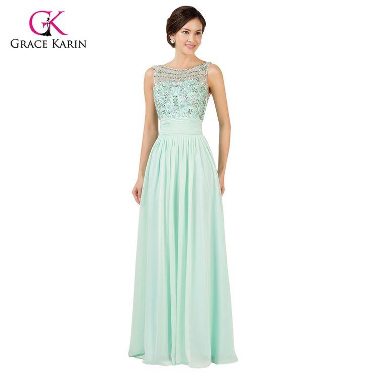 Princess Grace Karin Beads Chiffon Mint Green Long Evening dresses 2017 new arrival Open Back Formal Gowns robe de soiree longue