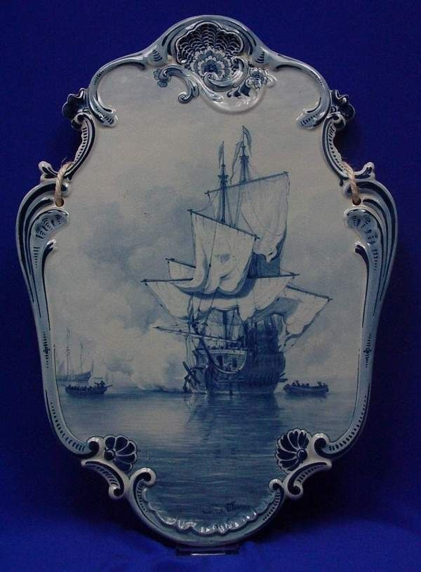 Antique Wall plaque Royal Delft made in 1890 museum