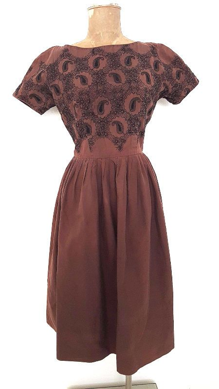 Pinup Dress Size Medium Embroidered Party Vintage 60s Rockabilly Party Paisley #Unknown