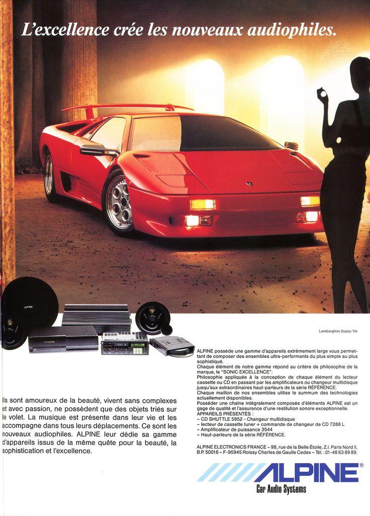 Publicité Alpine - car audio systems (Lamborghini Diablo) - Automobiles Classiques juin / juillet 1991.
