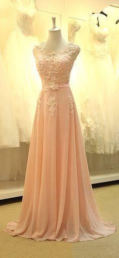 Long Evening Dress Gorgeous A-line Chiffon Floor-Length Appliques Prom Party Dresses