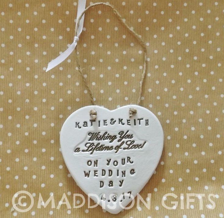 Customized Wedding Engagement Hanging Heart Ornament Unique Wedding Present Idea by MaddisonGifts on Etsy