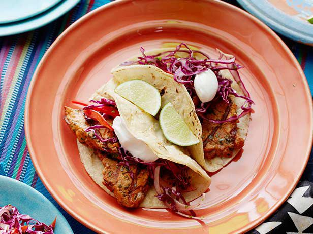 Grilled Chipotle Pork Tacos with Red Slaw #myplate #protein #starchRed Slaw, Food Network, Grilled Chipotle, Mr. Tacos, Maine Dishes, Pork Tacos, Network Kitchens, Slaw Recipe, Chipotle Pork