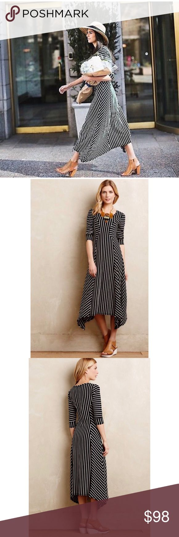 🔥SALE•Anthropologie B&W striped dress Anthropologie Saturday Sunday striped black and white dress. Classic look for any occasion! Dress it up or down. Anthropologie Dresses Maxi