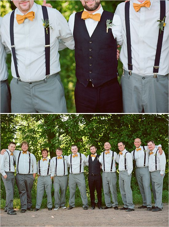 love the yellow bowties and suspenders for the groom and his men