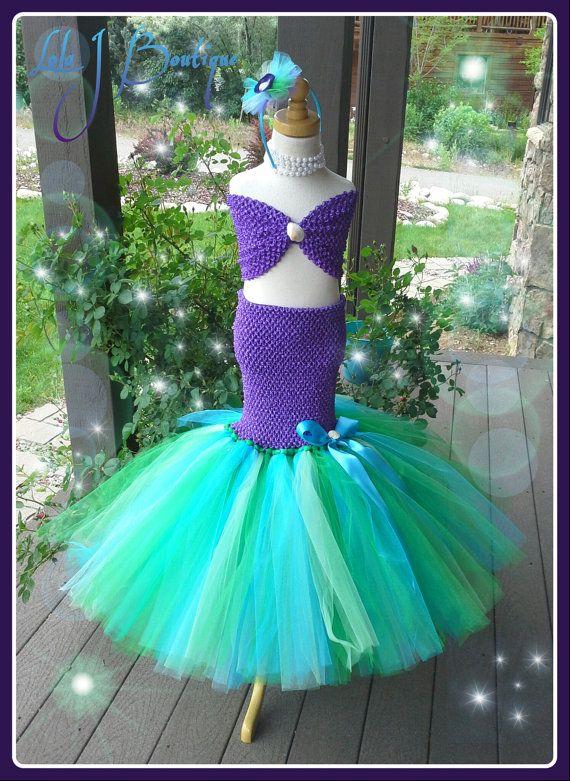 Sea Green And Purple Mermaid 2 Piece Tutu Skirt By LolaJBoutique