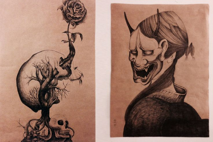 The Hannya by Joan, The skull by Kanae