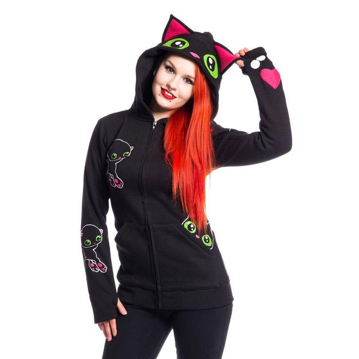 Cupcake Cult Kat met groene ogen vest en capuchon zwart – Emo, Kawaii