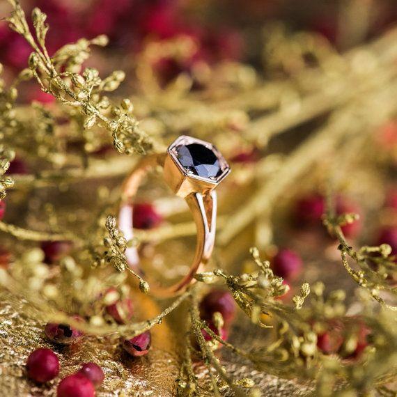 1.50 CT Black Diamond Engagement Ring in 14K Rose by ZEHAVAJEWELRY